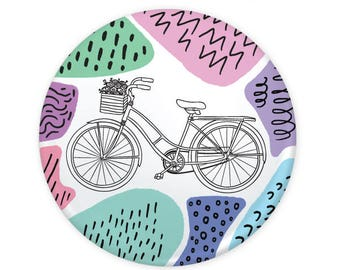 "Bicycle Basket Bike Colorful Geometric Squiggles Button 1.25"" (Pin Back or Magnet)"