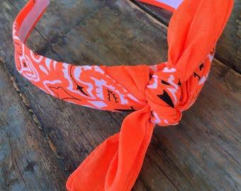 Bandana Knot Tie Headband (NEON ORANGE)