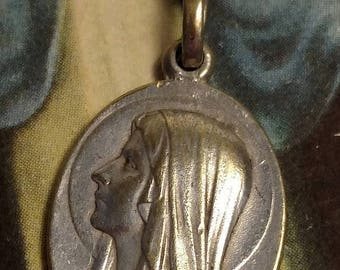 SALE TODAY French Taira Signed Silver Our Lady of Lourdes Vintage Art Deco Religious Medal Pendant