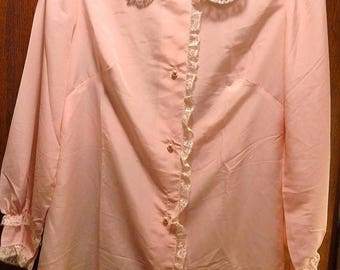 SALE TODAY Vintage Christian Dior Pink White Lace Bed Jacket Short Robe Lingerie Nightgown Bed Shirt Victorian Top ILGWU Nos Wedding Night