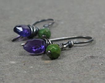 Purple Amethyst Earrings Petite Turquoise February Birthstone Oxidized Sterling Silver Earrings Gift for Girlfriend