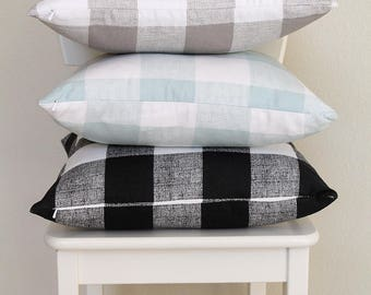 """Couch throw pillow Cover, Invisible zipper closure, Buffalo Check, Black, Tan, Teal, 18"""" square, Home decor, cushion, toss pillow cover"""