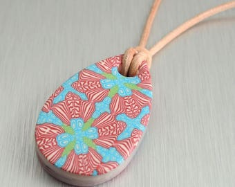 Aqua and Red Polymer Clay Pendant - Red Floral Drop Pendant - Fimo Pendant