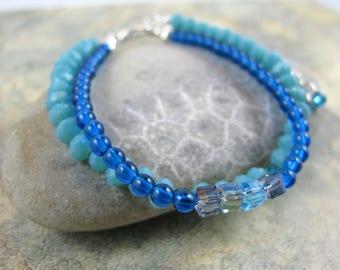 OOAK Turquoise Beaded Double Strand Bracelet - Item 1077