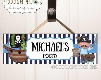 Pirate Door Sign, Nursery Door Sign, Kids Door Decor, Personalized Children's Wall Art