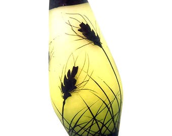 Wheat silhouettes on chartreuse moss fade, handmade lampwork glass bead focal by JC Herrell