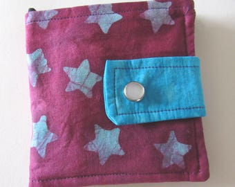 Batik Fabric Scrappy Wallet * Holds 8 cards and paper money * twilightdance