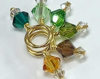 Stitch Markers - MINIS Forest Mix and Gold Shadow Swarovski Crystal
