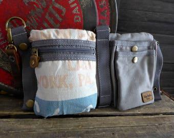 Eschelman - Stewart Hybrids  -  Convertible Belt/Waist Bag Vintage seed sack - Americana OOAK Canvas & Leather Bag Selina Vaughan Studios