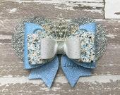 Cinderella Glitter Bow ~ Disney Princess Minnie Ears Sparkle Hair Clip ~ Rhinestone Tiara Crown ~ Silver Blue Birthday Party Disney Trip Bow