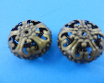 23mm large hollow filigree beads antique brass finish nickel free 6 pieces EO60b