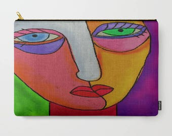 Colorful Abstract Face Clutch Bag Purse Handbag Cosmetics Bag Carry All Pouch