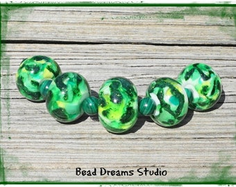 Sparkly Mulitcolors of Green Lampwork Bead Set