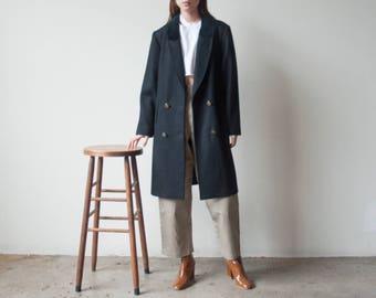 black double breasted overcoat / velvet collar midi black coat / classic simple coat / m / US 10 / 2338o / R3