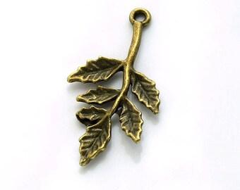 Leaf Charm Bronze Tone Pendant 5 pcs. 30x16mm