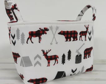 Storage Fabric Organizer Bin Container Basket - Bear Moose Deer Fabric - Red Black Buffalo Checks Plaid Woodland Trees Camping Arrows
