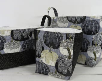 Ready to Ship - One of a Kind - Set of 3 Nesting - Fabric Organizer Storage Container Bins - Spellbound Pumpkins Halloween Autumn Fabric