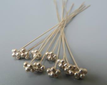 Sterling Silver Headpins, Bali Silver Headpins, Bali Findings, Headpins with Granules, Flower Headpins, 60mm Headpins, 10 Head Pins