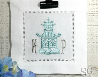Chinoiserie PAGODA MONOGRAM Cocktail Napkins. Set of 4. Embroidered Linens. Wedding Gift. Bar Cart Accessories. Stock the Bar Party.