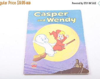 Casper the Friendly Ghost and Wendy the Good Witch, Halloween, Vintage, Children's Book, Illustrated ~ The Pink Room ~ 170222