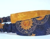 Zodiac Headband, Reversible Headband, Elastic Headband, Horoscope Headband, Gold Headband, Blue Headband, Stocking Stuffer, Summer Outdoors