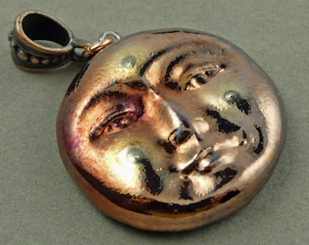 Classic Copper Raku Moonface Pendant