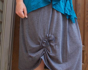 Gathered Knit Skirt Sz. S/M/L/XL/2x Large Womens Handmade Clothing Summer Layering Charcoal Gray