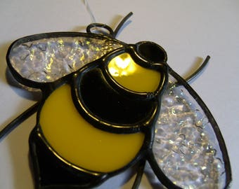 Stained Glass Bee Ornament, Bee Sun Catcher, Glass Honey Bee, Gift for Bee Lover, Beekeeper Christmas Gift