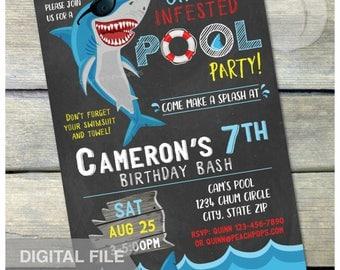 "Shark Pool Party Birthday Chalkboard Invitation Summer Swim Boy or Girl - DIGITAL Printable Invite - 5"" x 7"""