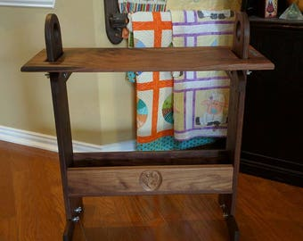Large Adjustable weaving bench, Black Walnut w/ turquoise inlays and rocker support