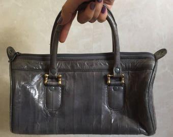 Slate Grey Blue Genuine Eel Skin Leather Handbag - Made in Korea -1980s