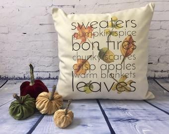 Fall word art decorative throw pillow/autumn pillow,pumpkin spice/ fall leaves decor/ acorns