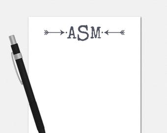 Arrow Monogram Notepad - Personalized Notepad for Men - Monogrammed Notepad - Personalized Stationery for Men