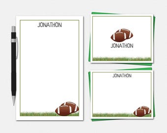 Football Stationery Set - Coach Stationary - Phys Ed Teacher Gifts - Free US Shipping - Men's Stationery -  Personalized Football Stationery