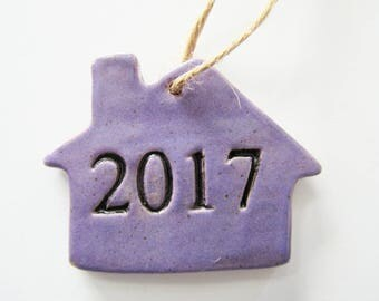 2017 Ornament, House Ornament with gift box - ceramic clay, handmade