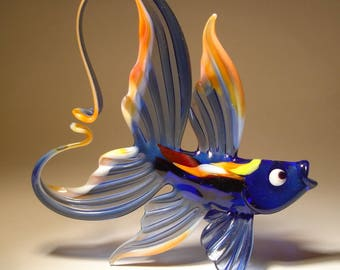 Handmade Blown Glass Art Figurine Blue and Peach Fish with Colorful Body