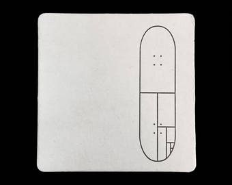 Mondrain Skateboard - Letterpress Coaster Set