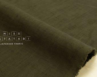 Japanese Fabric 100% linen - olive -  50cm
