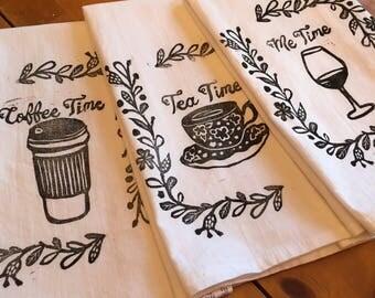 SET OF THREE  Tea Towel, Flour Sack Towel, Dish Towel,Housewarming Gift,Funny Dish Towel,Hostess Gift, Farm House Decor,Block Printing,bee