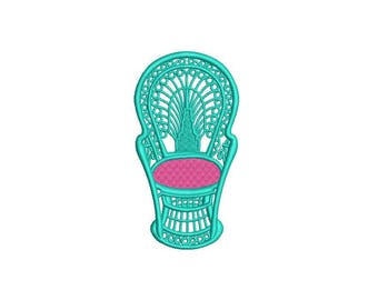 Chinoiserie Chic Monogram Peacock Cane Chair Machine Embroidery File design 4x4 hoop