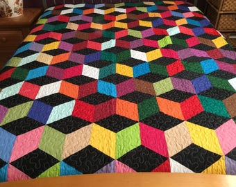 Spring Time Sale King size Tumbling Machine pieced and quilted quilt # NJ-3