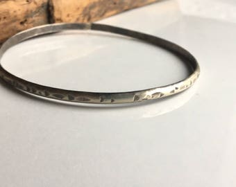 Hammered Argentium Silver Bangle, Silver Bracelet, Silver Bangle, Handmade Bangle Simple Bangle, Etsy, Etsy Jewelry