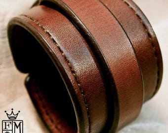 Leather cuff Bracelet brown handstitched custom crafted for YOU in NYC by Freddie Matara