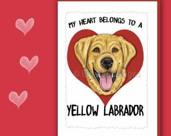 YELLOW LABRADOR CARD, Yellow Lab Greeting Card, Yellow Lab Notecard,  Yelow Lab Birthday Card