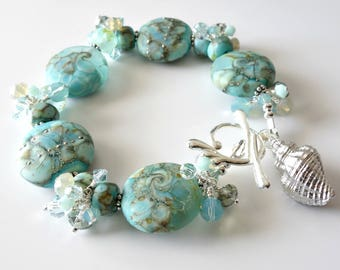 Lampwork Beach Bracelet, Aqua, Turquoise, Silver Bracelet, Seashell Charm, Beaded Jewelry, Beaded Bracelet, One of a Kind, Splash Clasp