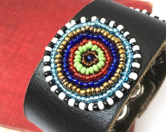 Black Leather Cuff Wristband with Colorful Beaded Circles, Eco Friendly, Unique, Black Leather Bracelet, Adjustable Snaps, OOAK
