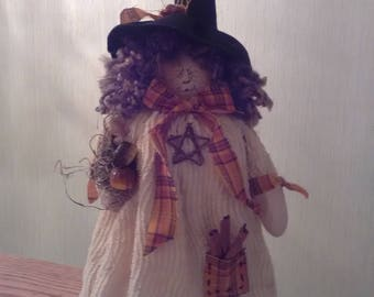 Hazel the Witch dressed in old chenille coat Handmade Doll Halloween Fall Cinnamon Autumn Pumpkin Country Chic Rustic