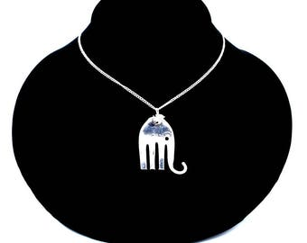 Silver Spoon Pendant ELEPHANT R Jewelry Necklace Vintage, Silverware, Gift, Anniversary, Wedding, Birthday