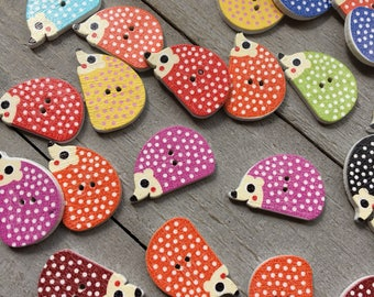 Hedgehog Wooden Buttons - 10 Buttons in Assorted Colors -  Cute Colorful Animal Buttons for Kids Clothes, Knits and Crafts (B136)