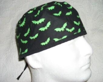 Green Bats Flying  Allover Medical Scrub Hat